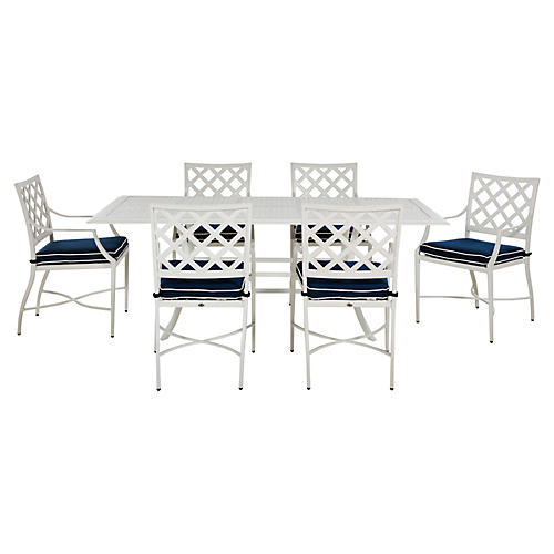 Lattice 7-Pc Dining Set, Navy/French Linen