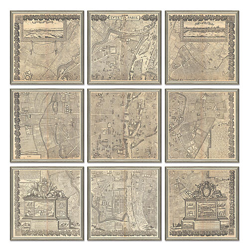 Map of Paris Polyptych, Silver Maps, Silver Leaf