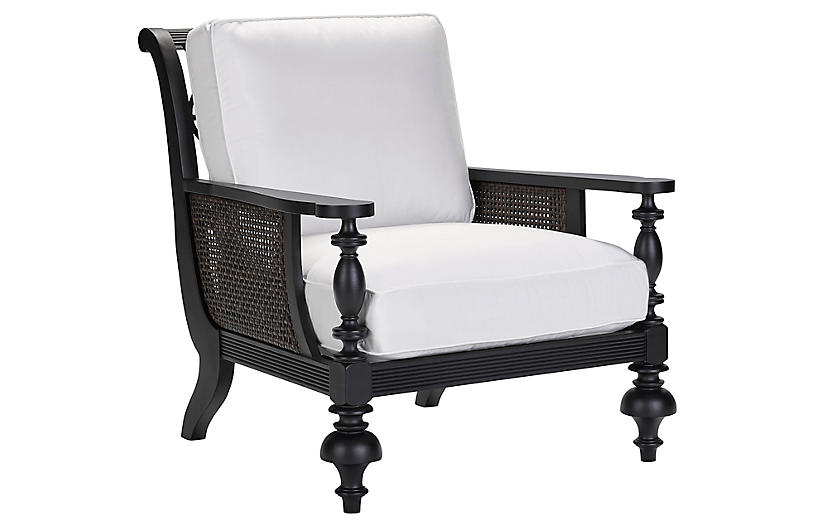 Hemingway Plantation Lounge Chair, Black/Natural