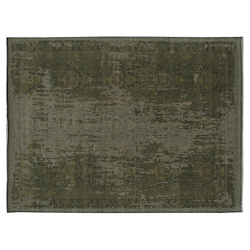 "8'10""x11'10"" Raya Hand-Knotted Rug, Green"