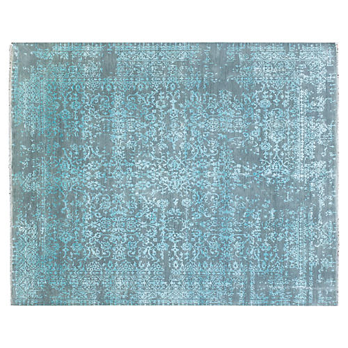"8'x9'10"" Gokul Hand-Knotted Rug, Turquoise"
