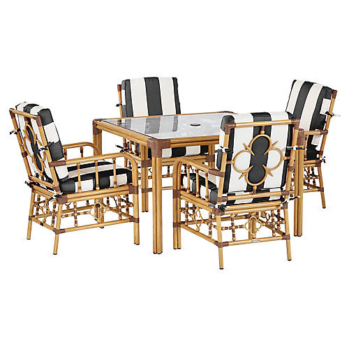 Mimi 5-Pc Dining Set, Black/White Stripe