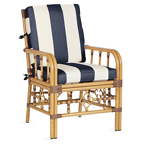 Mimi Armchair, Navy/White