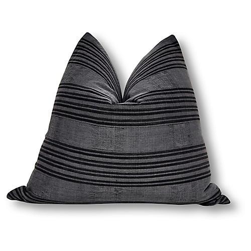 Tribal 24x24 Pillow, Charcoal Linen
