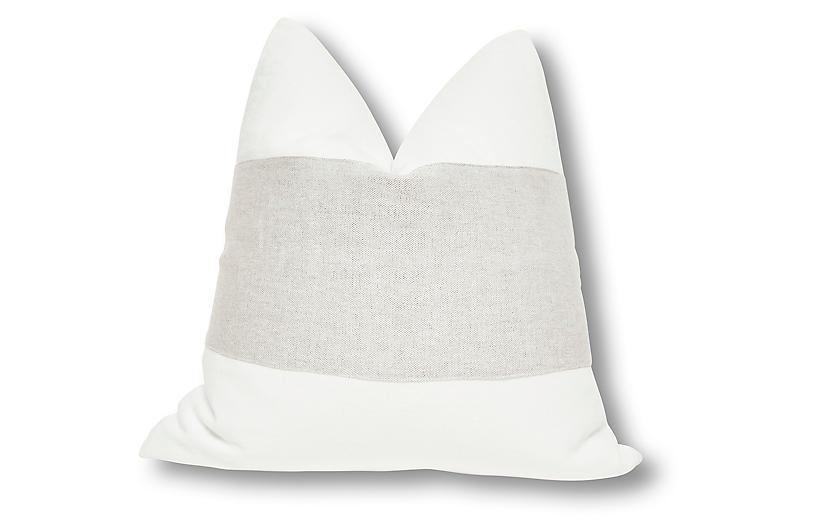 Malca 24x24 Pillow, Blanc Linen