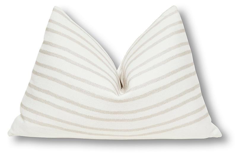 Jessa 16x25 Pillow, Sand/White Linen