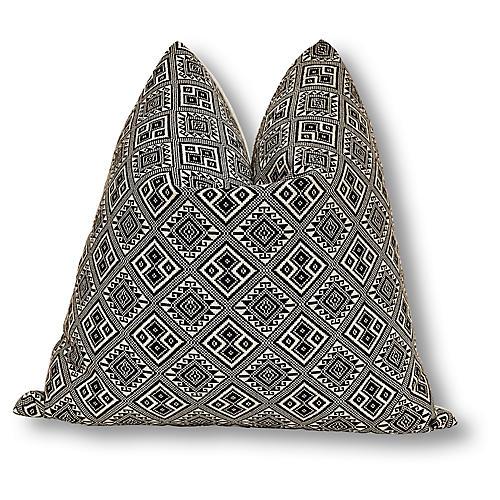Geo 24x24 Pillow, Black Linen