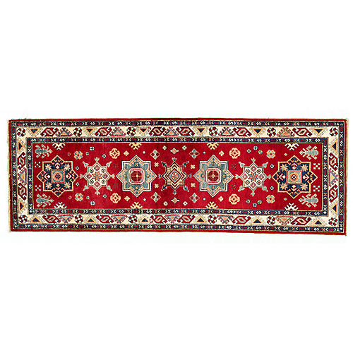 "2'8""x7'9"" Anya Kazak Runner, Red"