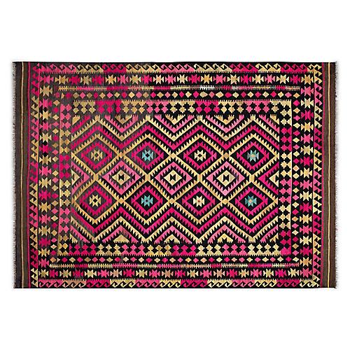 """7'1""""x10'1"""" Tevy Afghan Kilim, Pink"""
