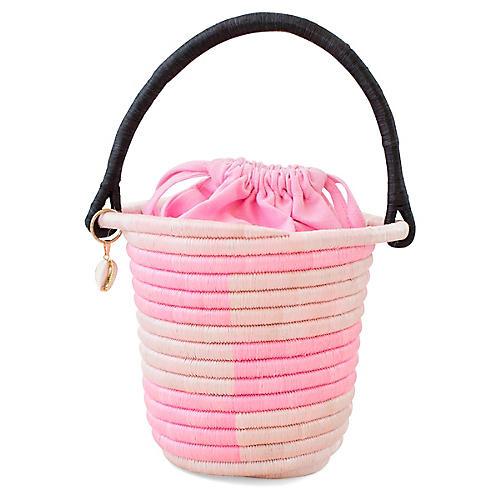 Lucine Bucket Bag, Pink/Black