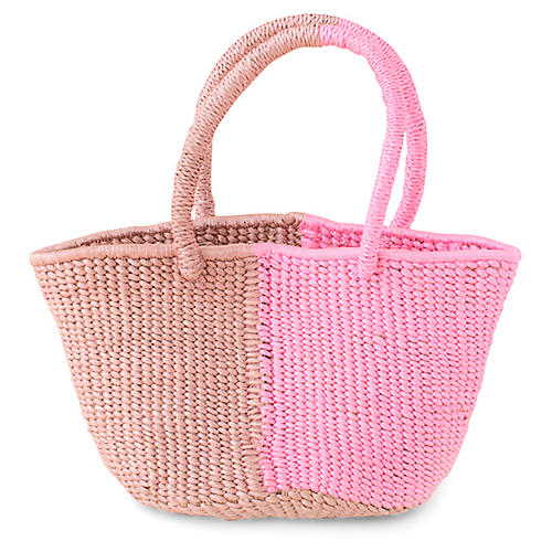 Turret Two-Tone Tote, Pink/Mauve