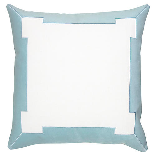 Collins 24x24 Pillow, White/Aqua Velvet