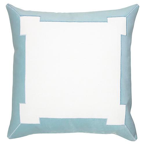 Collins 24x24 Pillow, White/Aqua Velvet