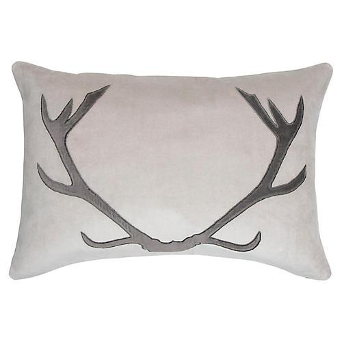 Blitzen 16x24 Lumbar Pillow, Gray Velvet