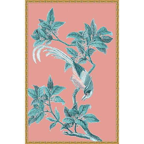 Pink & Turquoise Chinoiserie Birds II