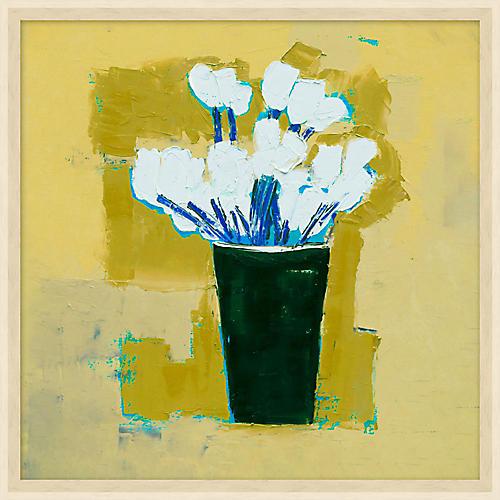 Ochre Abstract Flower Vase