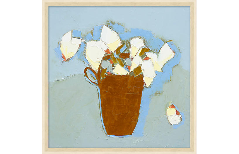 Blue Abstract Flower Vase