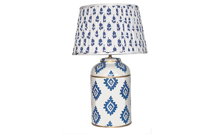 Tea Caddy Table Lamp, Navy