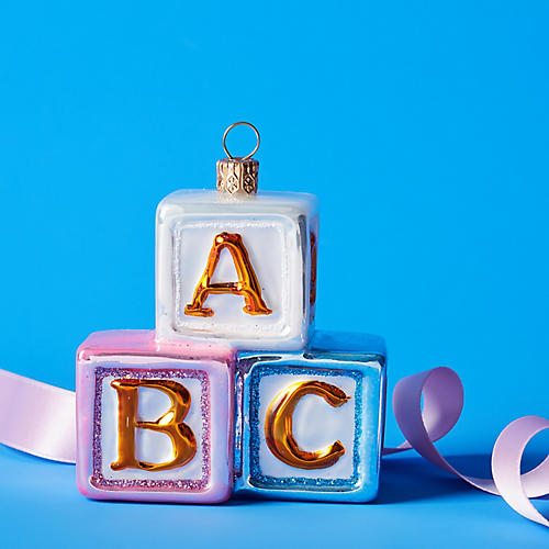 Alphabet Building Blocks Ornament, Gold/Multi