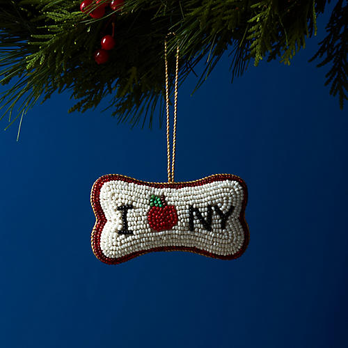 I Heart NY Dog Bone Ornament, White/Red