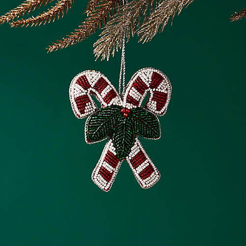 Double Candy Cane Ornament, Red/White