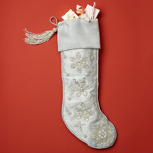 """23"""" Beaded Snowflake Silk Stocking, Silver/White"""