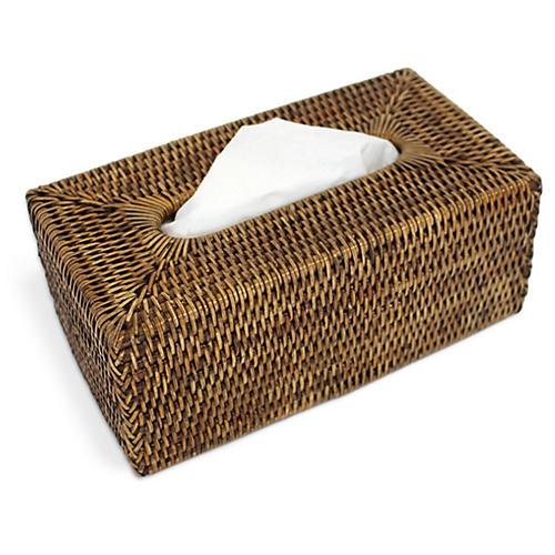 Jay Rectangular Tissue Box, Brown