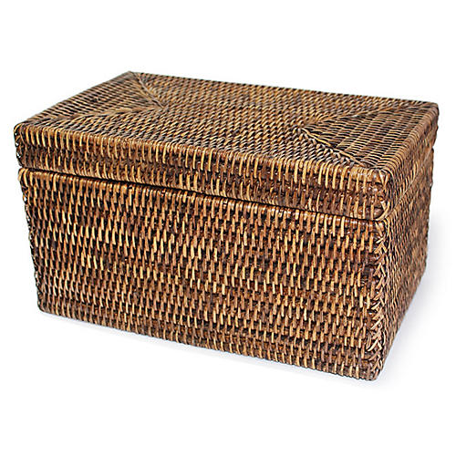 "12"" Collis Storage Basket w/ Lid, Brown"