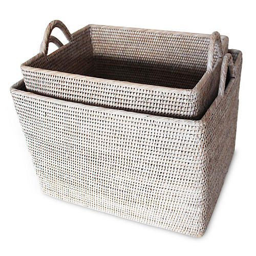 Asst. of 2 Lyn Baskets w/ Loop Handles, Whitewash