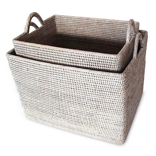 Asst. of 2 Lyn Baskets w/ Loop Handles, Whitewash