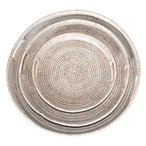 Asst. of 3 Galway Decorative Trays, Whitewash