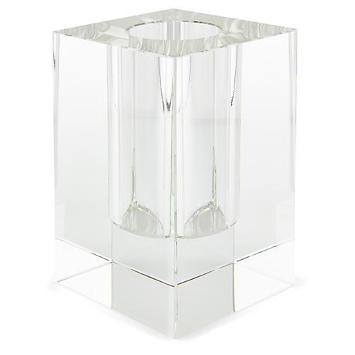"9"" Swain Square Bud Vase, Crystal"