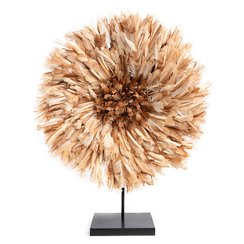 "26"" Juju Feather Hat w/ Stand, Natural"