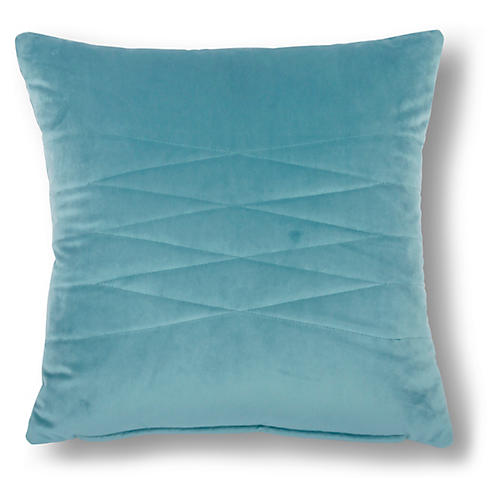Alistaire 18x18 Quilted Pillow, Cyan Velvet