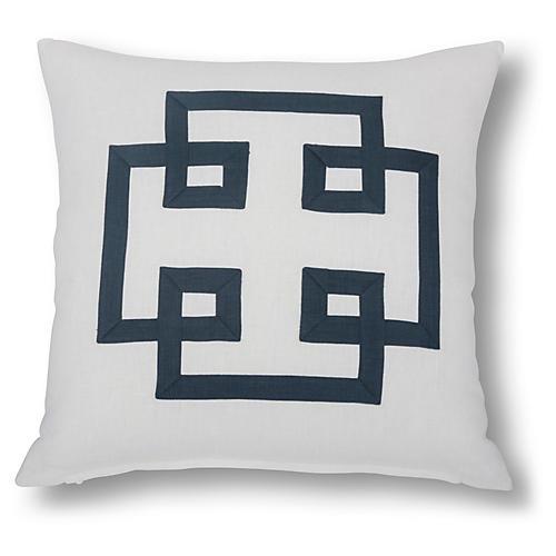 Jacoba 22x22 Pillow, White/Navy Linen