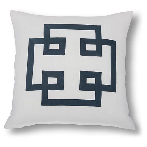 Jacoba 22x22 Pillow, White/Navy Linen