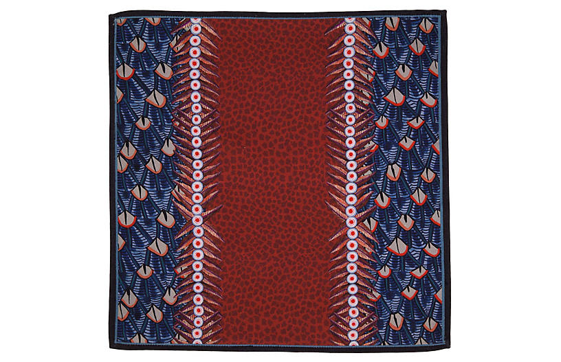 S/2 Feather Royal Napkins, Red/Multi