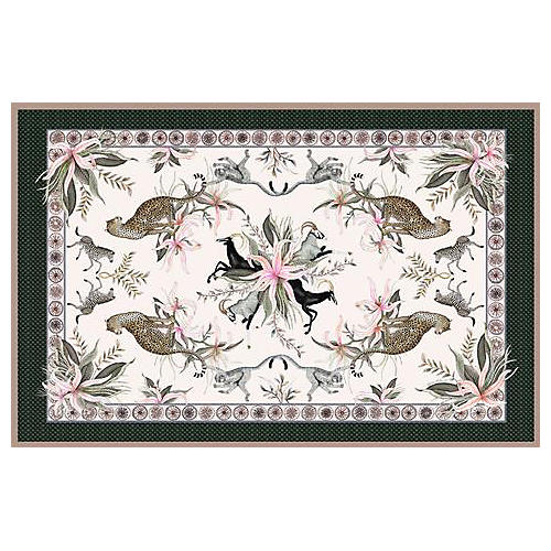 Leopard Lily Safari Stone Tablecloth, Pink/Multi