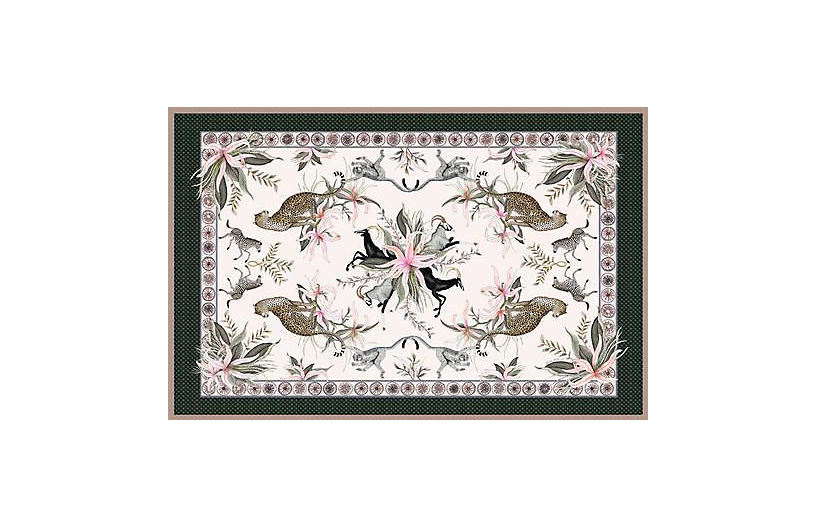 Leopard Lily Safari Stone Tablecloth, Pink/Multi