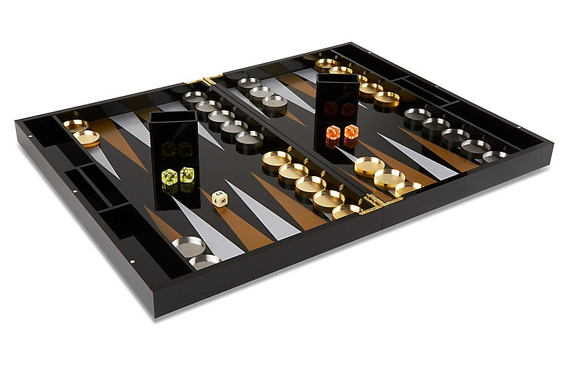 Barona Backgammon Set, Black/Gold