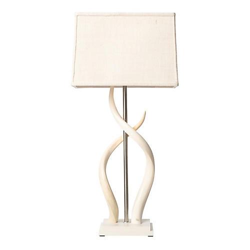 Double Kudu Horn Table Lamp, Cream