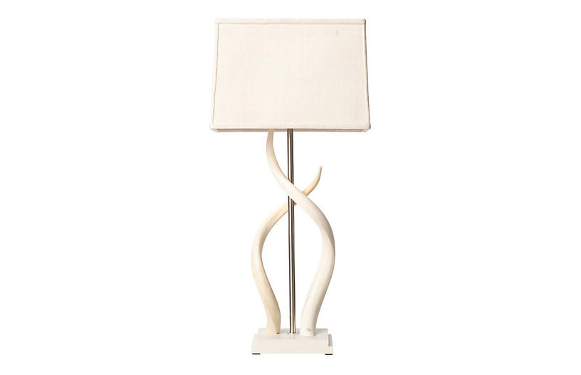 Double Kudu Horn Table Lamp, Cream