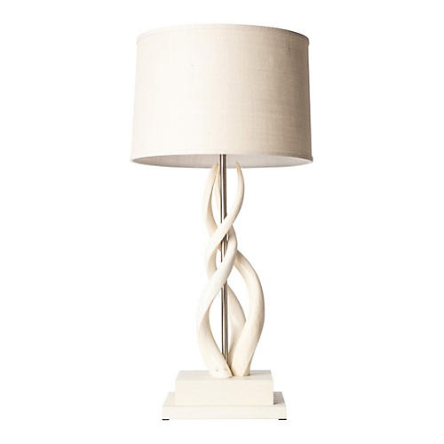 Triple Kudu Horn Table Lamp, Cream