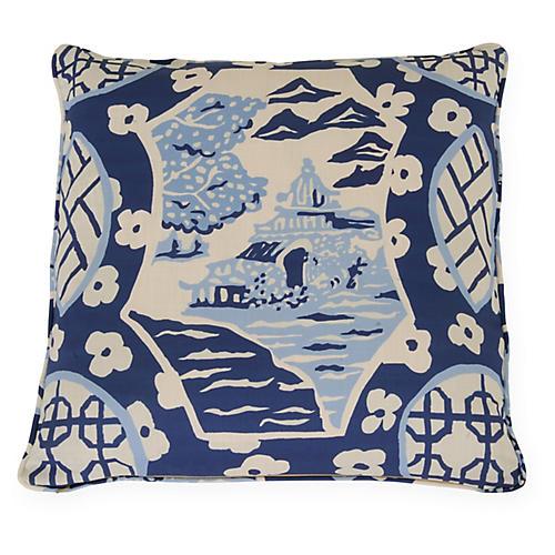 Canton 22x22 Pillow, Indigo/White