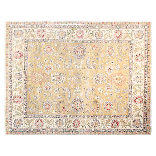 9'x12' Agra Rug, Gold/Ivory