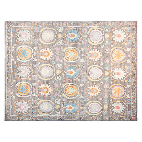 9'x12' Cora Sari Rug, Light Gray