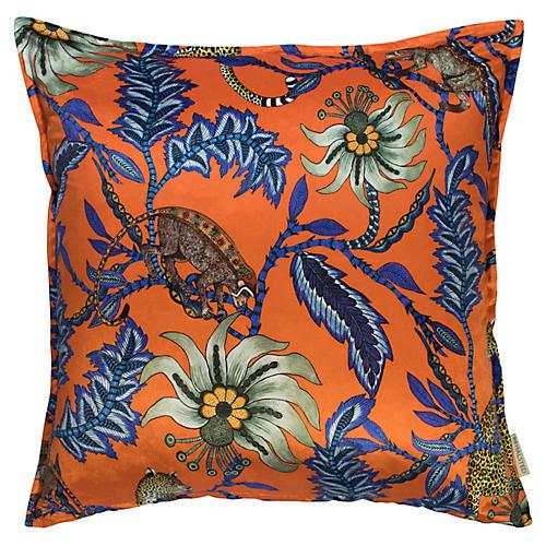 Monkey Bean 24x24 Pillow, Flame Velvet