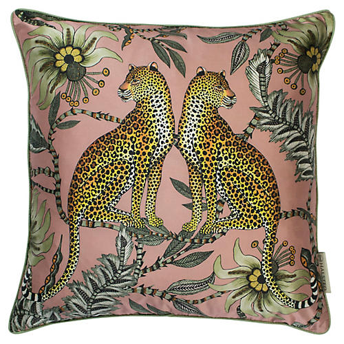 Leopard 16x16 Silk Pillow, Magnolia