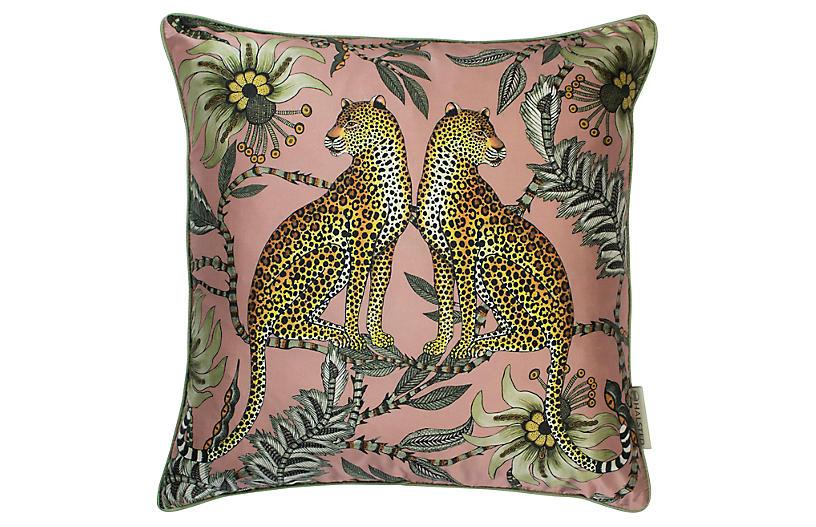 Leopard 16x16 Silk Pillow, Magnolia