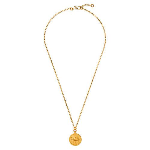 18-Kt Elephant Medallion Necklace